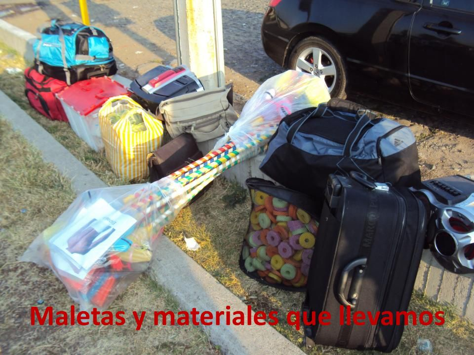 Maletas y materiales que llevamos