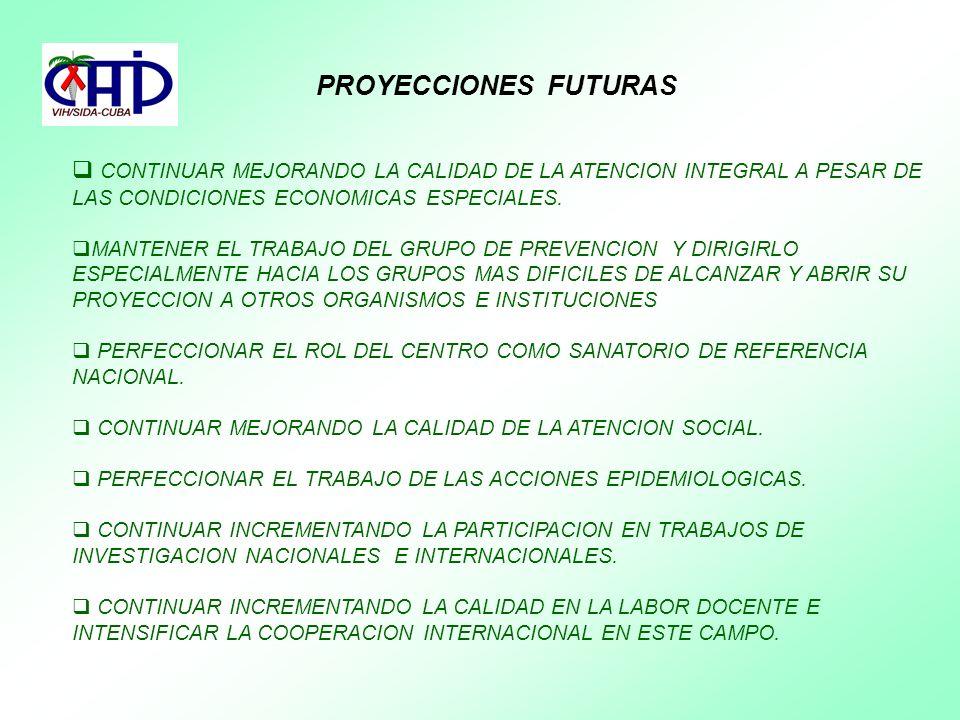 PROYECCIONES FUTURAS CONTINUAR MEJORANDO LA CALIDAD DE LA ATENCION INTEGRAL A PESAR DE LAS CONDICIONES ECONOMICAS ESPECIALES. MANTENER EL TRABAJO DEL