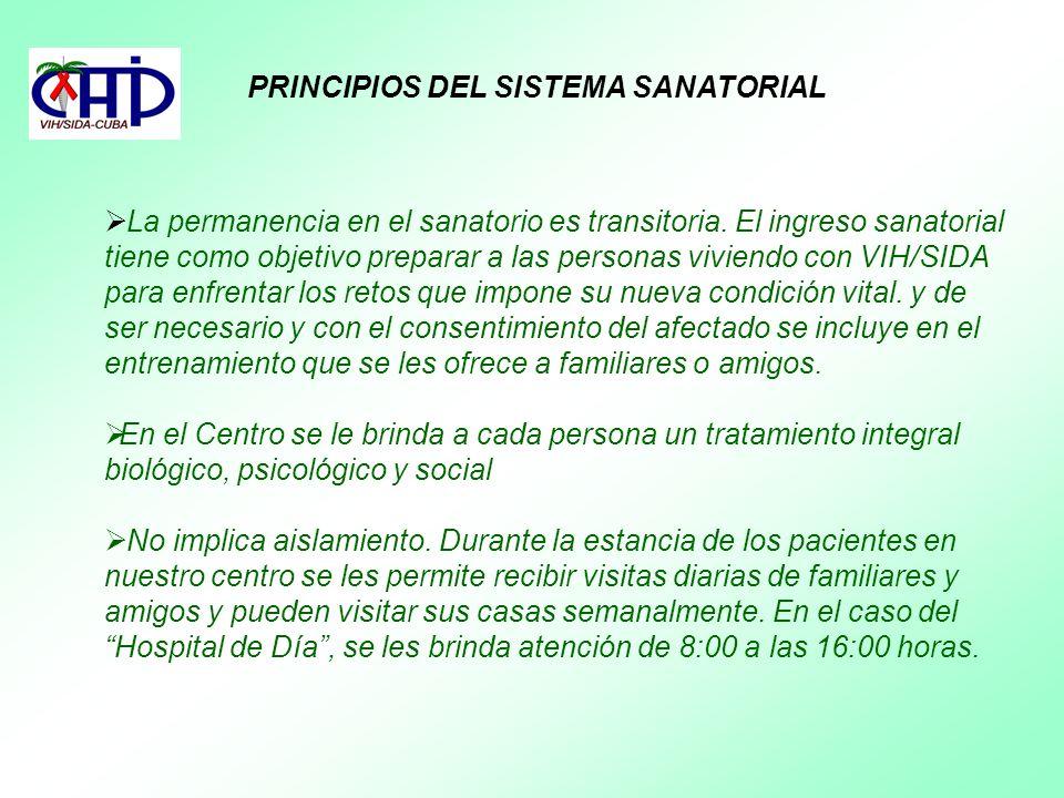 PRINCIPIOS DEL SISTEMA SANATORIAL La permanencia en el sanatorio es transitoria. El ingreso sanatorial tiene como objetivo preparar a las personas viv