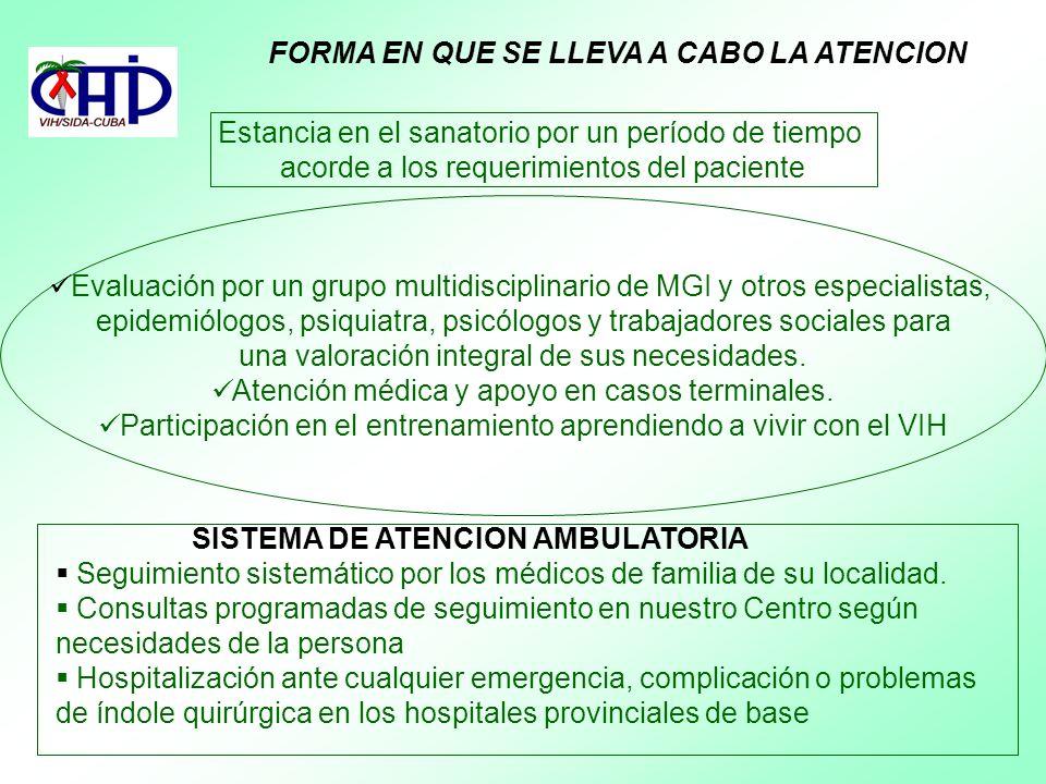 FORMA EN QUE SE LLEVA A CABO LA ATENCION Estancia en el sanatorio por un período de tiempo acorde a los requerimientos del paciente Evaluación por un