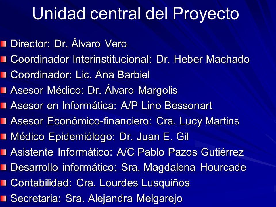 Unidad central del Proyecto Director: Dr. Álvaro Vero Coordinador Interinstitucional: Dr. Heber Machado Coordinador: Lic. Ana Barbiel Asesor Médico: D