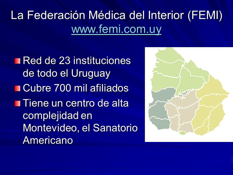 La Federación Médica del Interior (FEMI) www.femi.com.uy www.femi.com.uy Red de 23 instituciones de todo el Uruguay Cubre 700 mil afiliados Tiene un centro de alta complejidad en Montevideo, el Sanatorio Americano