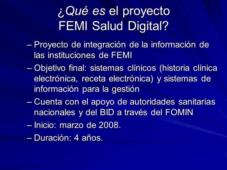 ¿Qué es el proyecto FEMI Salud Digital? –Proyecto de integración de la información de las instituciones de FEMI –Objetivo final: sistemas clínicos (hi