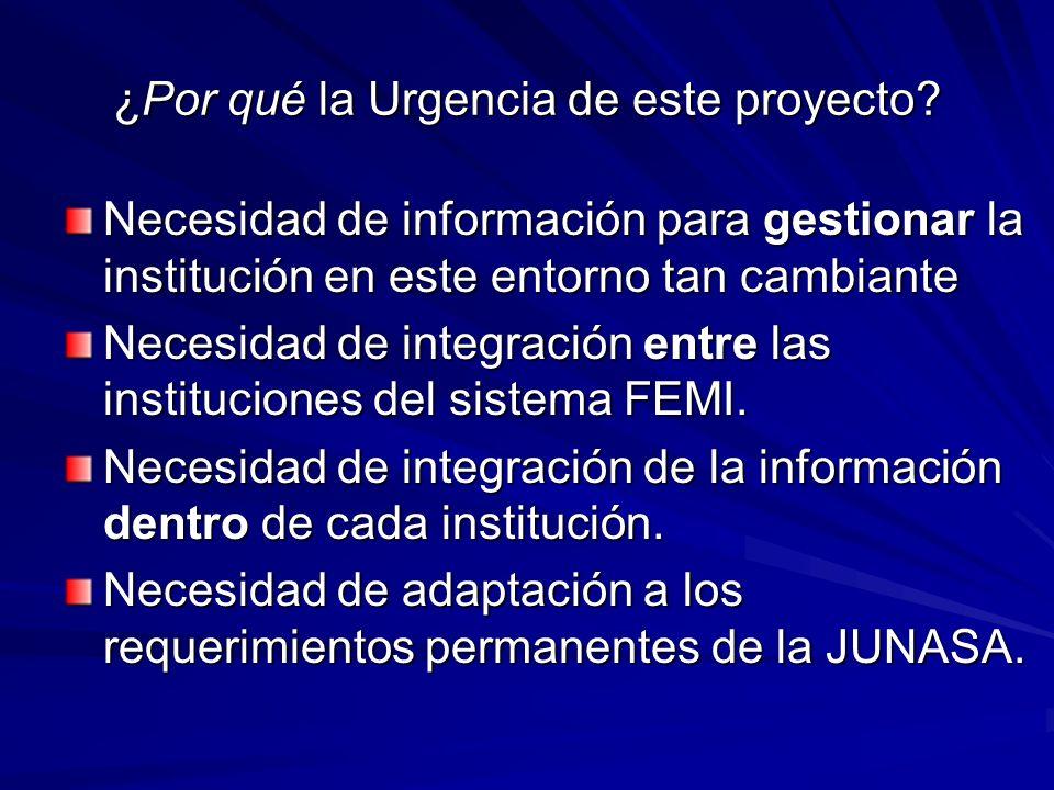 ¿Por qué la Urgencia de este proyecto? Necesidad de información para gestionar la institución en este entorno tan cambiante Necesidad de integración e