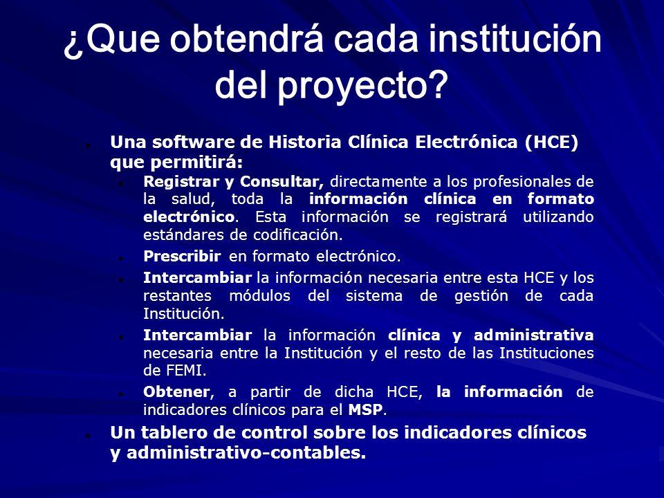 ¿Que obtendrá cada institución del proyecto? Una software de Historia Clínica Electrónica (HCE) que permitirá: Registrar y Consultar, directamente a l