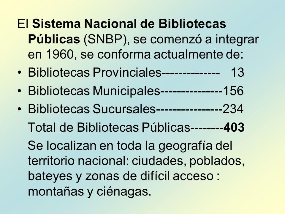 El Sistema Nacional de Bibliotecas Públicas (SNBP), se comenzó a integrar en 1960, se conforma actualmente de: Bibliotecas Provinciales-------------- 13 Bibliotecas Municipales---------------156 Bibliotecas Sucursales----------------234 Total de Bibliotecas Públicas--------403 Se localizan en toda la geografía del territorio nacional: ciudades, poblados, bateyes y zonas de difícil acceso : montañas y ciénagas.