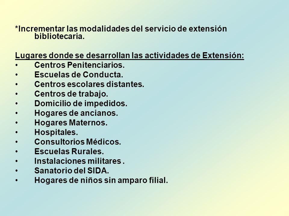 *Incrementar las modalidades del servicio de extensión bibliotecaria. Lugares donde se desarrollan las actividades de Extensión: Centros Penitenciario