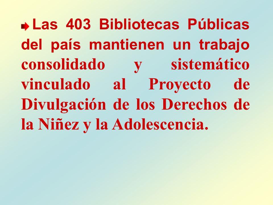 Las 403 Bibliotecas Públicas del país mantienen un trabajo consolidado y sistemático vinculado al Proyecto de Divulgación de los Derechos de la Niñez y la Adolescencia.