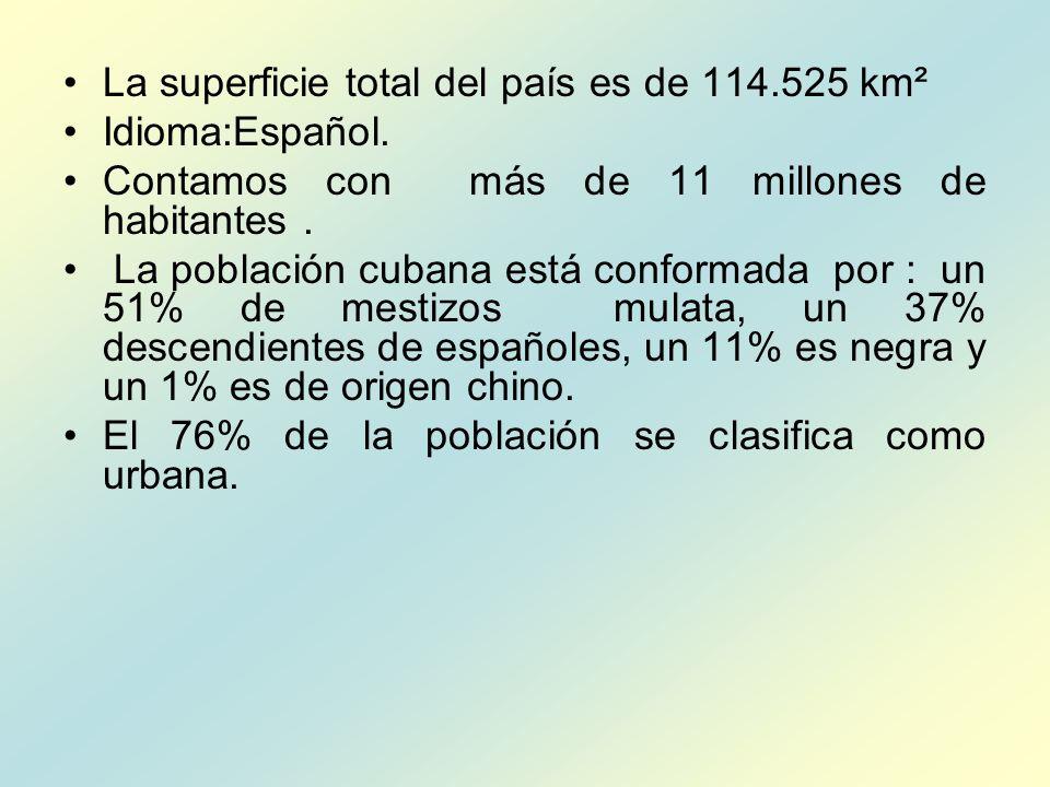 La superficie total del país es de 114.525 km² Idioma:Español. Contamos con más de 11 millones de habitantes. La población cubana está conformada por