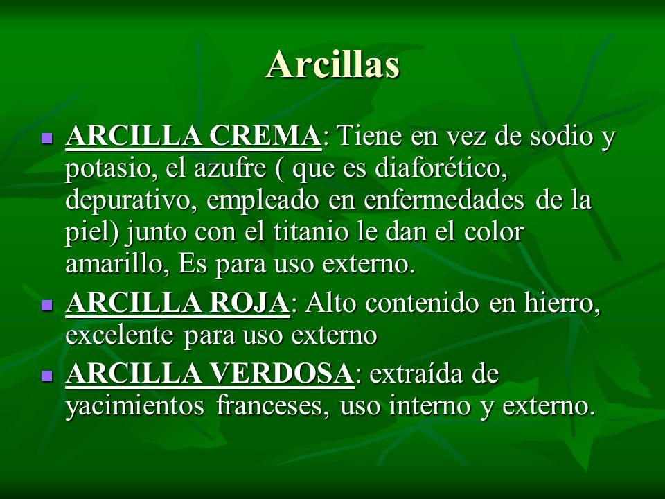 Arcillas ARCILLA CREMA: Tiene en vez de sodio y potasio, el azufre ( que es diaforético, depurativo, empleado en enfermedades de la piel) junto con el