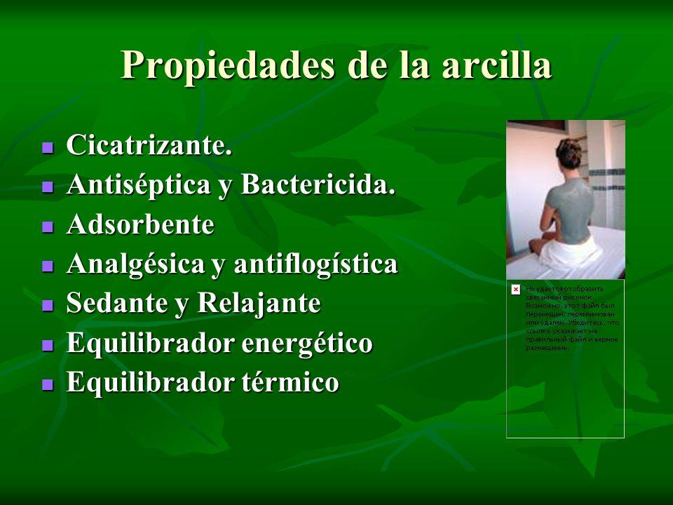 Propiedades de la arcilla Cicatrizante. Cicatrizante. Antiséptica y Bactericida. Antiséptica y Bactericida. Adsorbente Adsorbente Analgésica y antiflo