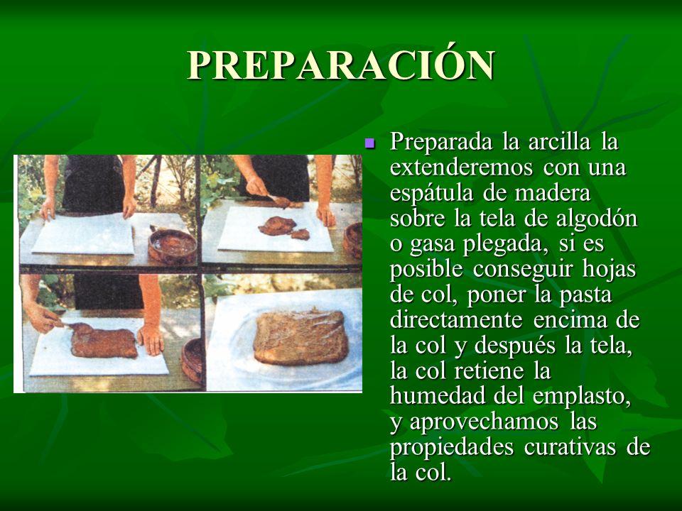 Preparada la arcilla la extenderemos con una espátula de madera sobre la tela de algodón o gasa plegada, si es posible conseguir hojas de col, poner l
