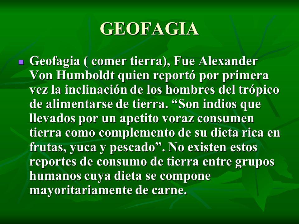 GEOFAGIA Geofagia ( comer tierra), Fue Alexander Von Humboldt quien reportó por primera vez la inclinación de los hombres del trópico de alimentarse d