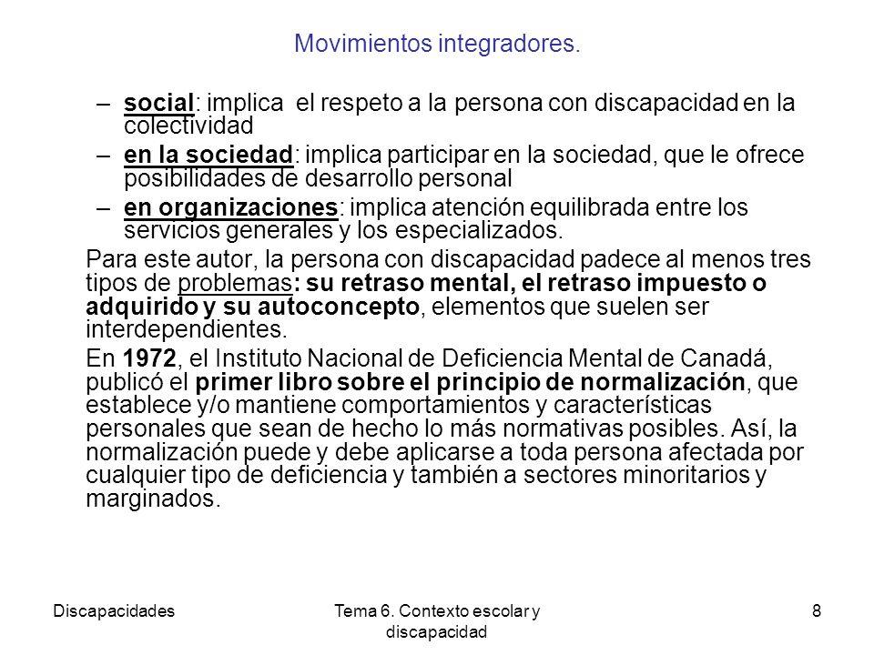 DiscapacidadesTema 6.Contexto escolar y discapacidad 8 Movimientos integradores.