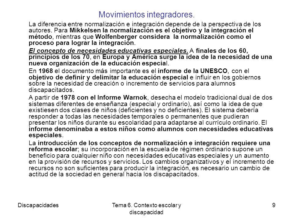 DiscapacidadesTema 6.Contexto escolar y discapacidad 9 Movimientos integradores.