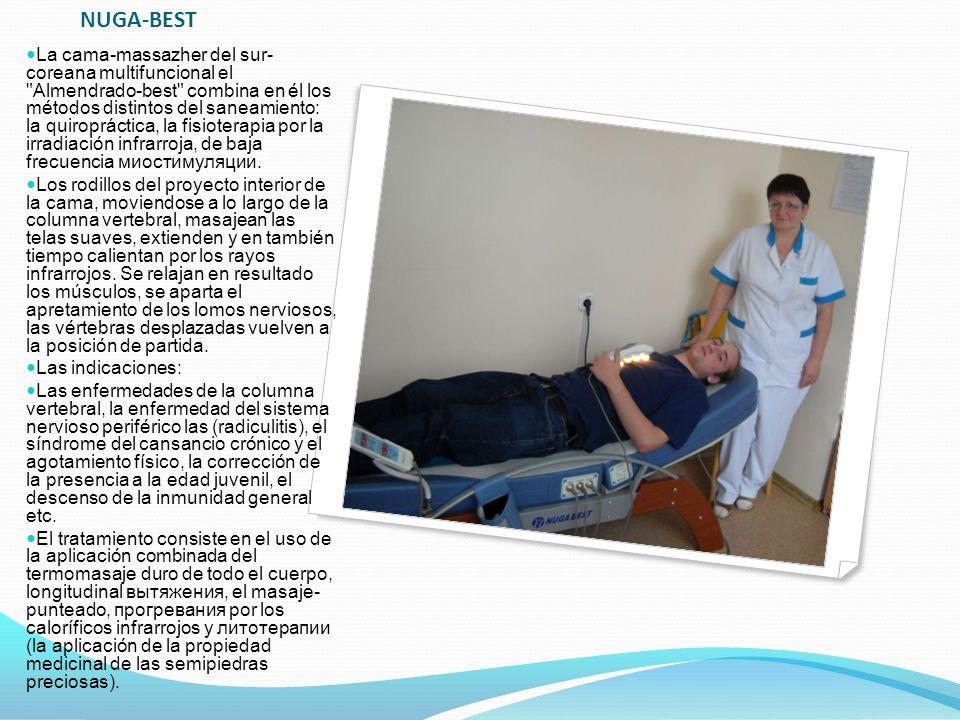 NUGA-BEST La cama-massazher del sur- coreana multifuncional el Almendrado-best combina en él los métodos distintos del saneamiento: la quiropráctica, la fisioterapia por la irradiación infrarroja, de baja frecuencia миостимуляции.