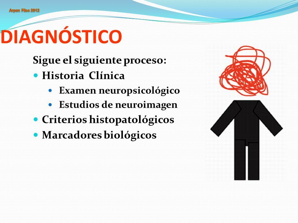 DIAGNÓSTICO Sigue el siguiente proceso: Historia Clínica Examen neuropsicológico Estudios de neuroimagen Criterios histopatológicos Marcadores biológi