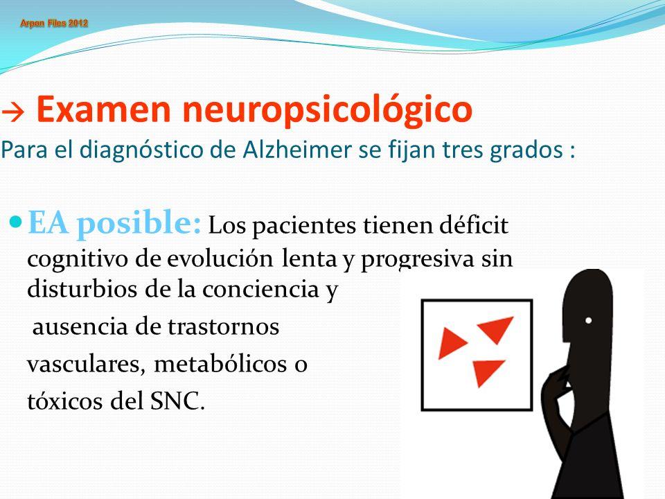 Examen neuropsicológico Para el diagnóstico de Alzheimer se fijan tres grados : EA posible: Los pacientes tienen déficit cognitivo de evolución lenta