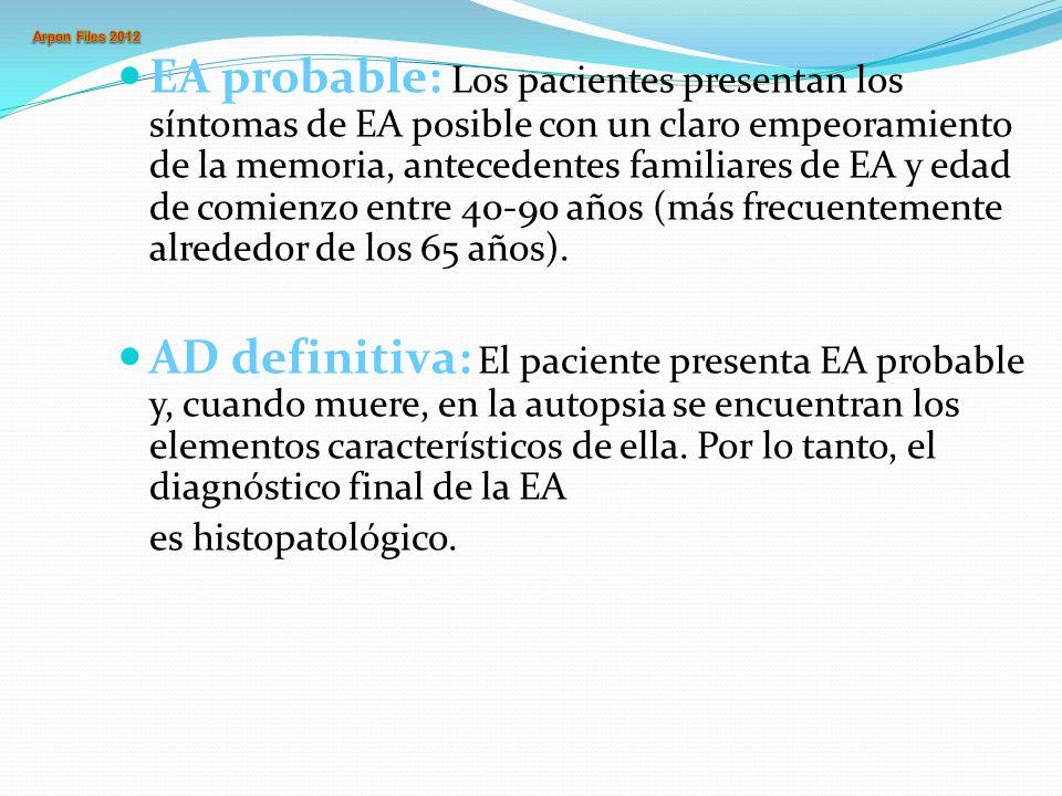 EA probable: Los pacientes presentan los síntomas de EA posible con un claro empeoramiento de la memoria, antecedentes familiares de EA y edad de comi