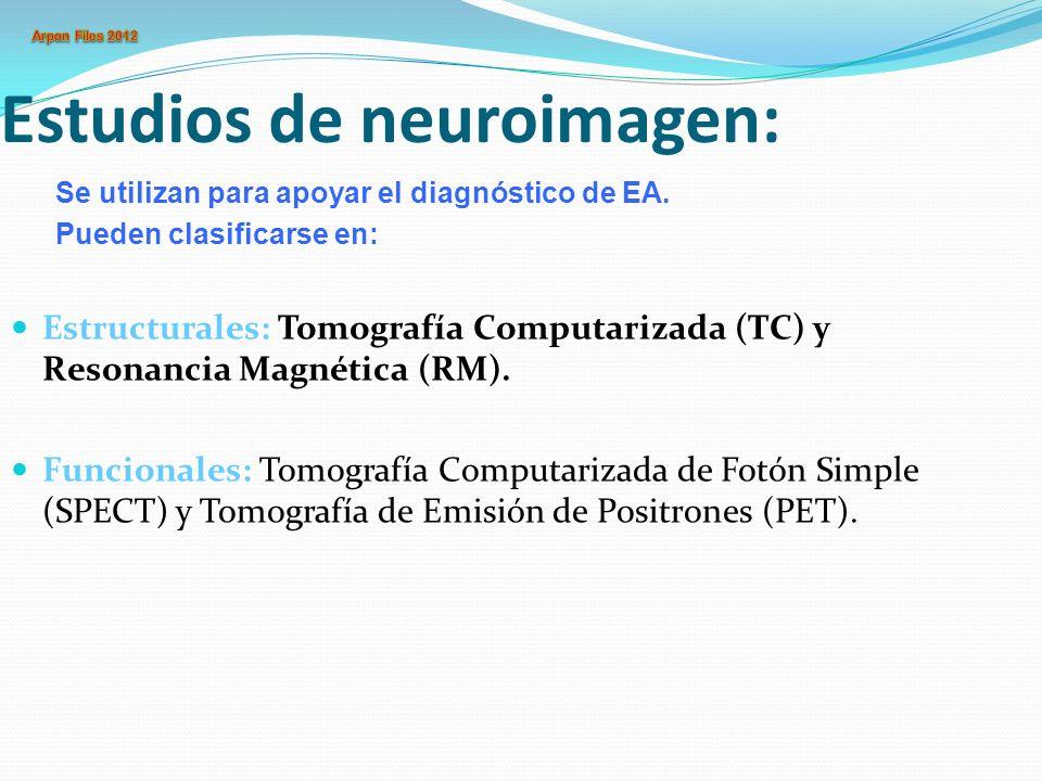 Estudios de neuroimagen: Estructurales: Tomografía Computarizada (TC) y Resonancia Magnética (RM). Funcionales: Tomografía Computarizada de Fotón Simp