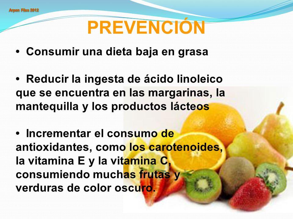 Consumir una dieta baja en grasa Reducir la ingesta de ácido linoleico que se encuentra en las margarinas, la mantequilla y los productos lácteos Incr