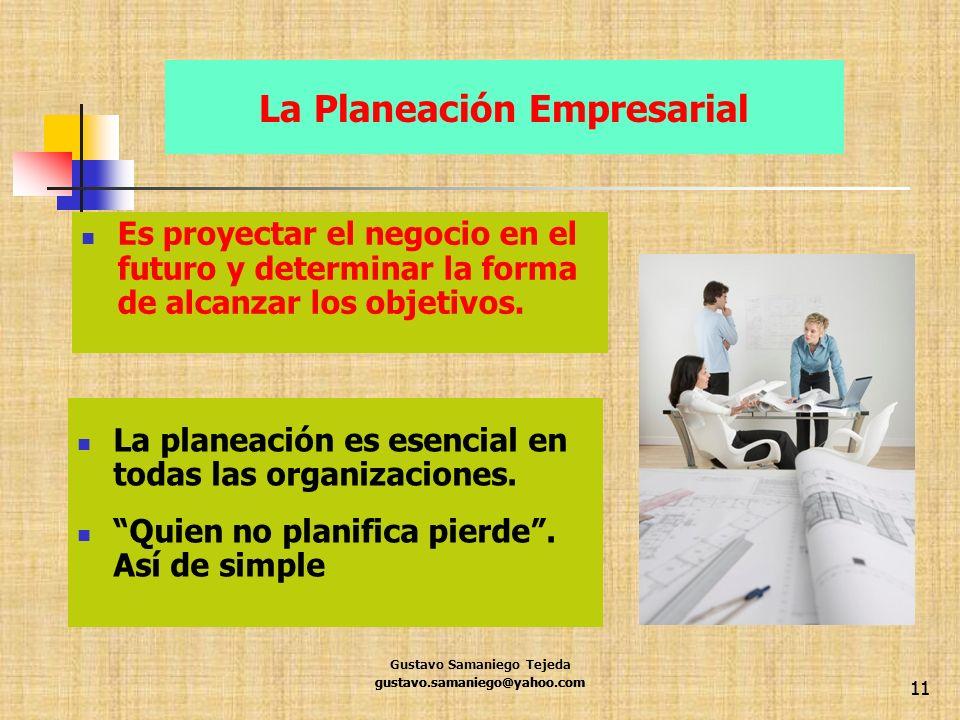 gustavo.samaniego@yahoo.com 11 La Planeación Empresarial Es proyectar el negocio en el futuro y determinar la forma de alcanzar los objetivos. La plan