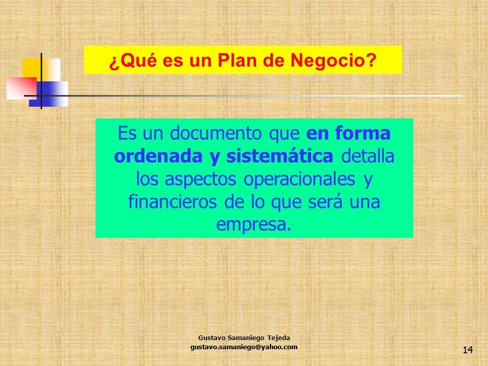 gustavo.samaniego@yahoo.com 14 ¿Qué es un Plan de Negocio? Es un documento que en forma ordenada y sistemática detalla los aspectos operacionales y fi