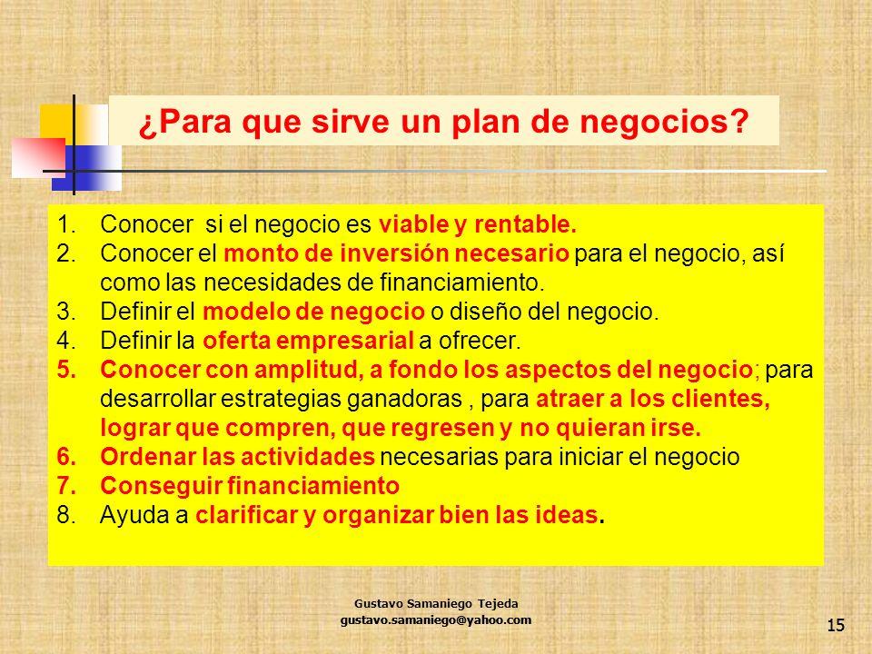 15 1.Conocer si el negocio es viable y rentable. 2.Conocer el monto de inversión necesario para el negocio, así como las necesidades de financiamiento