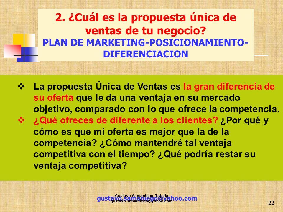 gustavo.samaniego@yahoo.com 22 La propuesta Única de Ventas es la gran diferencia de su oferta que le da una ventaja en su mercado objetivo, comparado
