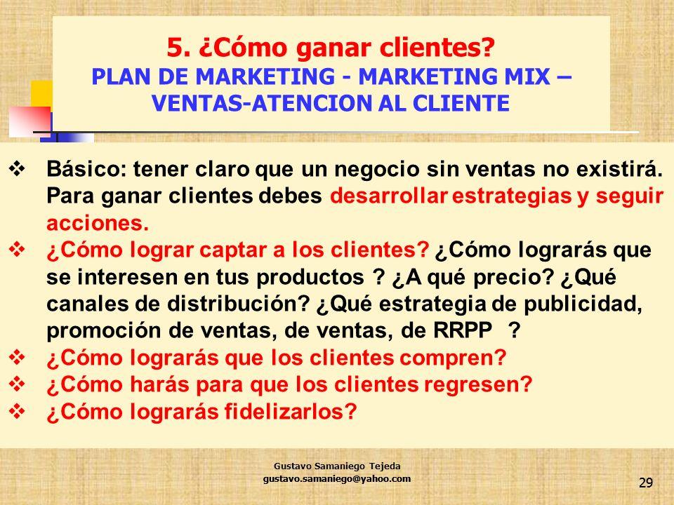 gustavo.samaniego@yahoo.com 29 Básico: tener claro que un negocio sin ventas no existirá. Para ganar clientes debes desarrollar estrategias y seguir a