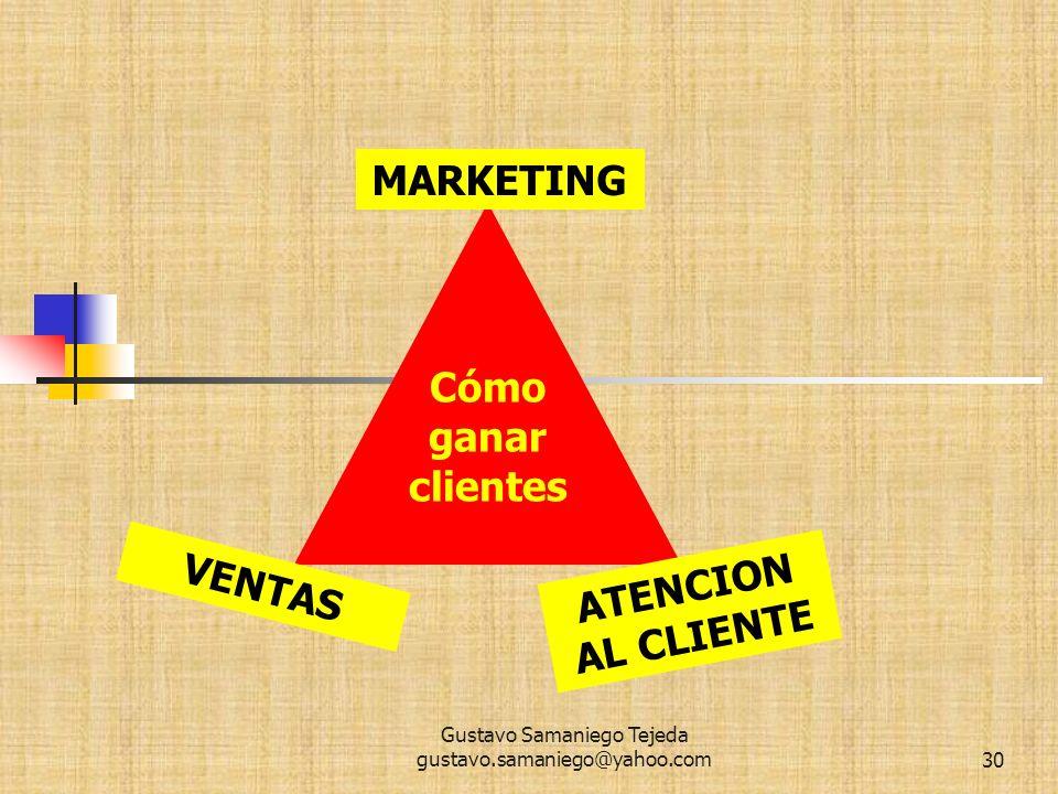 Gustavo Samaniego Tejeda gustavo.samaniego@yahoo.com30 MARKETING ATENCION AL CLIENTE VENTAS Cómo ganar clientes