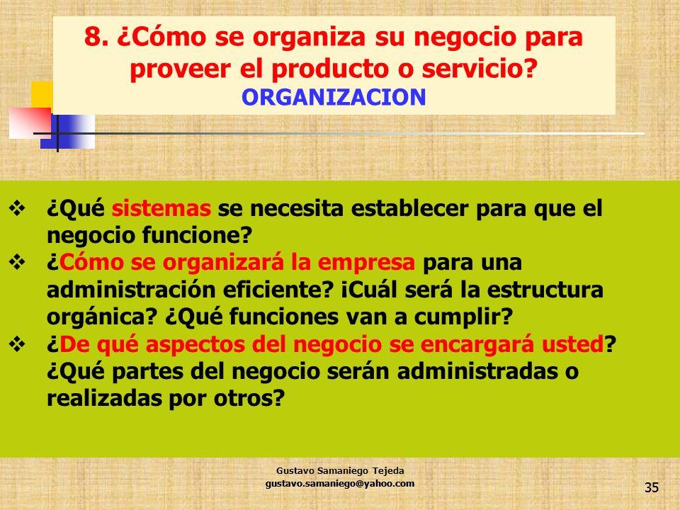 gustavo.samaniego@yahoo.com 35 ¿Qué sistemas se necesita establecer para que el negocio funcione? ¿Cómo se organizará la empresa para una administraci