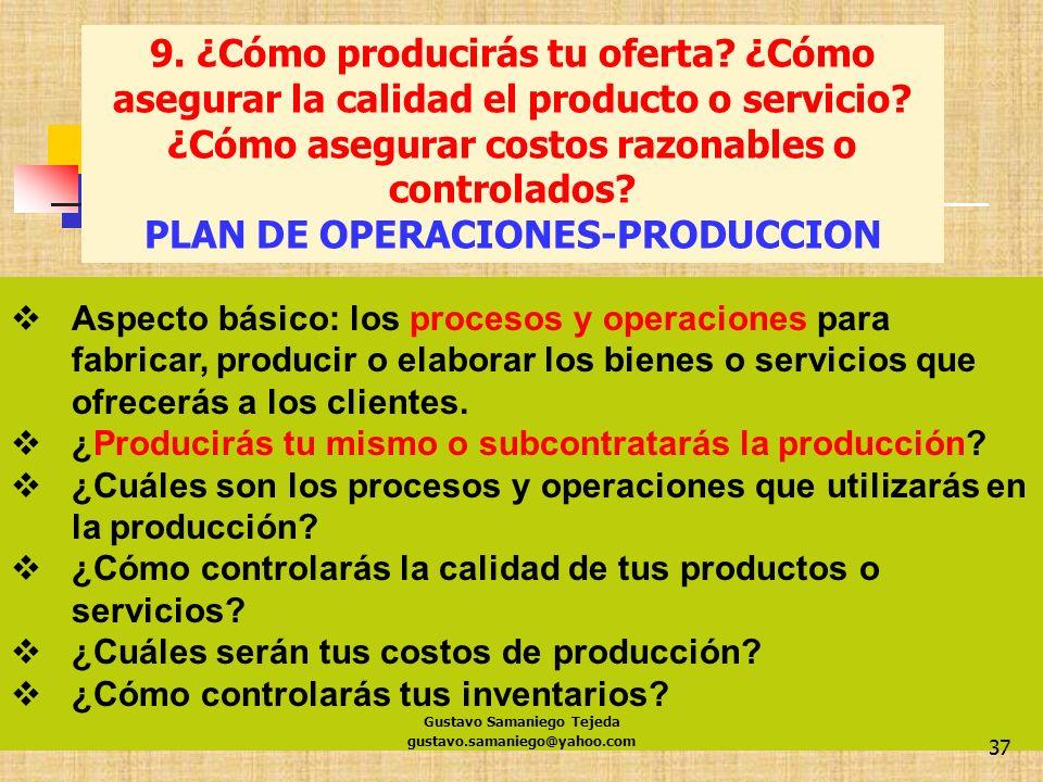 gustavo.samaniego@yahoo.com 37 Aspecto básico: los procesos y operaciones para fabricar, producir o elaborar los bienes o servicios que ofrecerás a lo