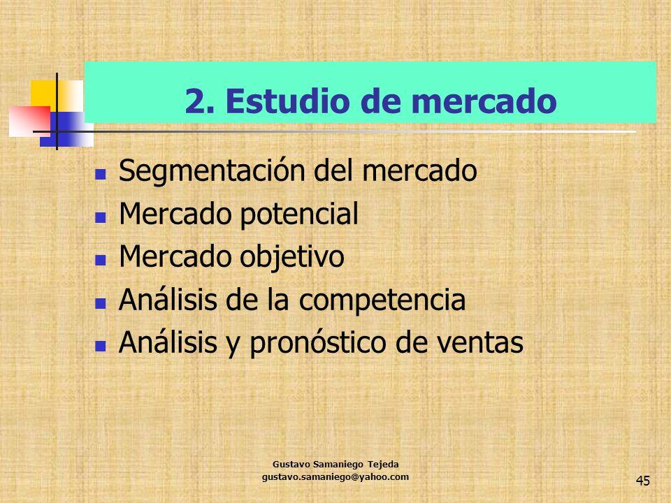 2. Estudio de mercado Segmentación del mercado Mercado potencial Mercado objetivo Análisis de la competencia Análisis y pronóstico de ventas Gustavo S