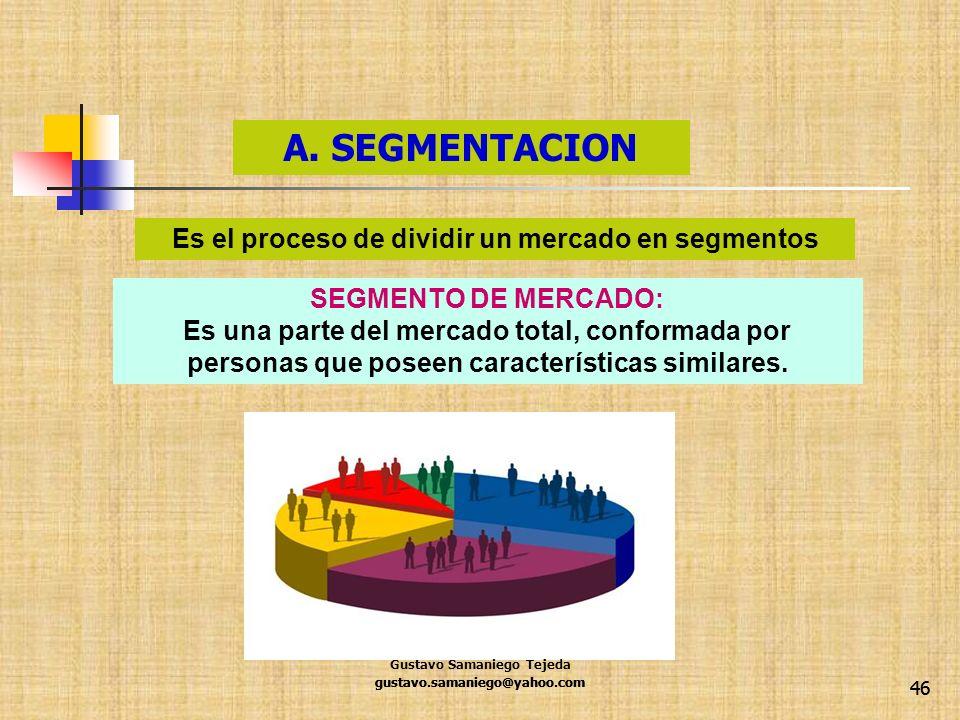 46 A. SEGMENTACION gustavo.samaniego@yahoo.com SEGMENTO DE MERCADO: Es una parte del mercado total, conformada por personas que poseen características