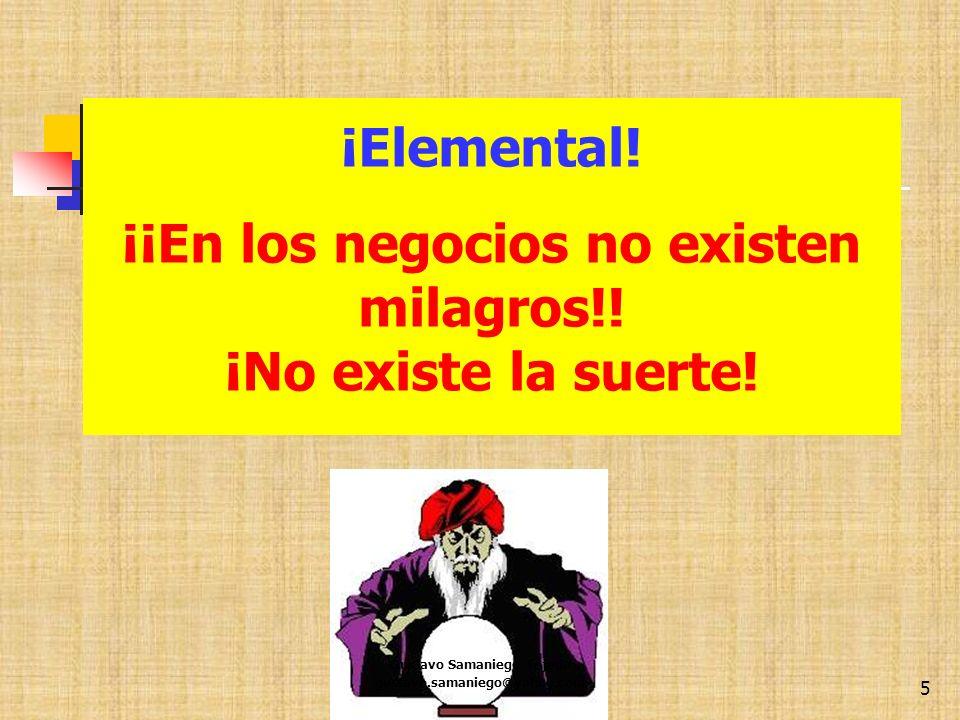 5 ¡Elemental!. ¡¡En los negocios no existen milagros!! ¡No existe la suerte!. Gustavo Samaniego Tejeda gustavo.samaniego@yahoo.com