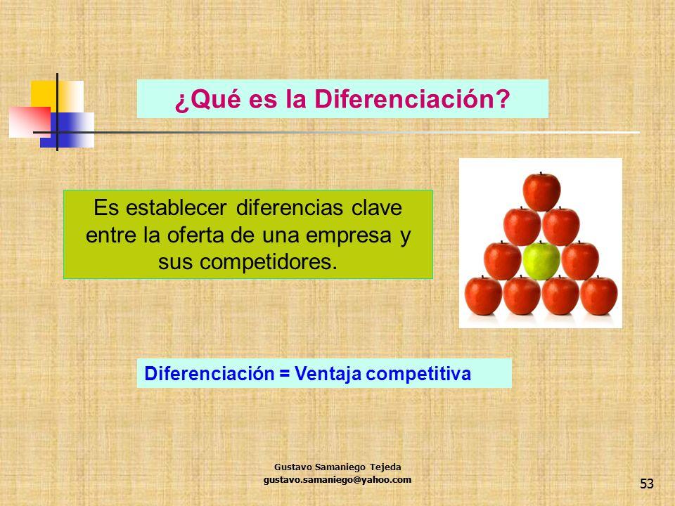 53 gustavo.samaniego@yahoo.com ¿Qué es la Diferenciación? Es establecer diferencias clave entre la oferta de una empresa y sus competidores. Diferenci