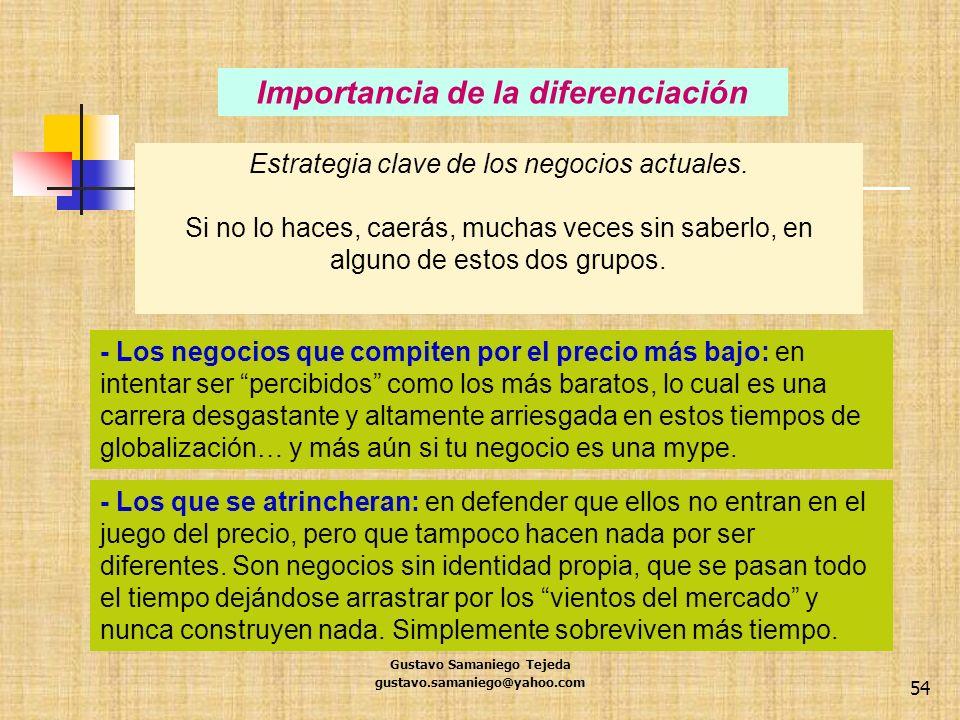 Gustavo Samaniego Tejeda gustavo.samaniego@yahoo.com 54 Importancia de la diferenciación Estrategia clave de los negocios actuales. Si no lo haces, ca