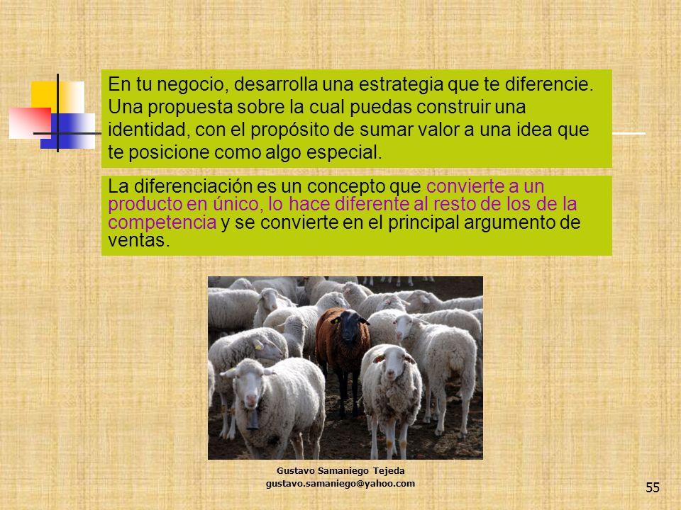 Gustavo Samaniego Tejeda gustavo.samaniego@yahoo.com 55 La diferenciación es un concepto que convierte a un producto en único, lo hace diferente al re