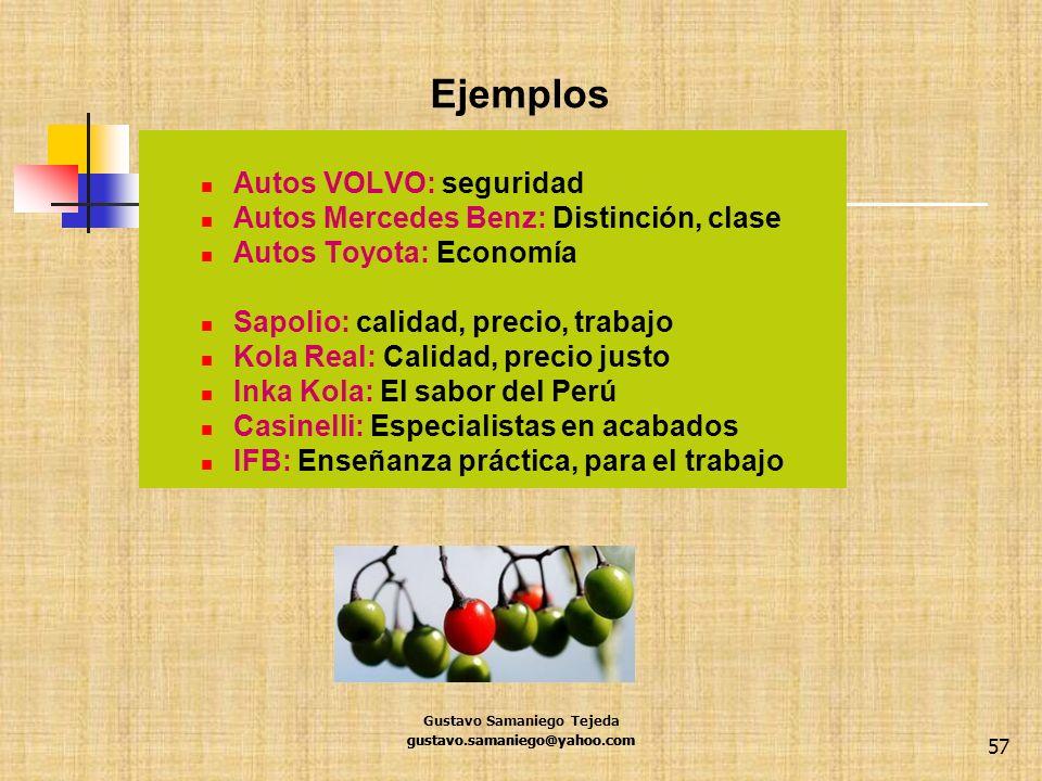 Ejemplos Autos VOLVO: seguridad Autos Mercedes Benz: Distinción, clase Autos Toyota: Economía Sapolio: calidad, precio, trabajo Kola Real: Calidad, pr