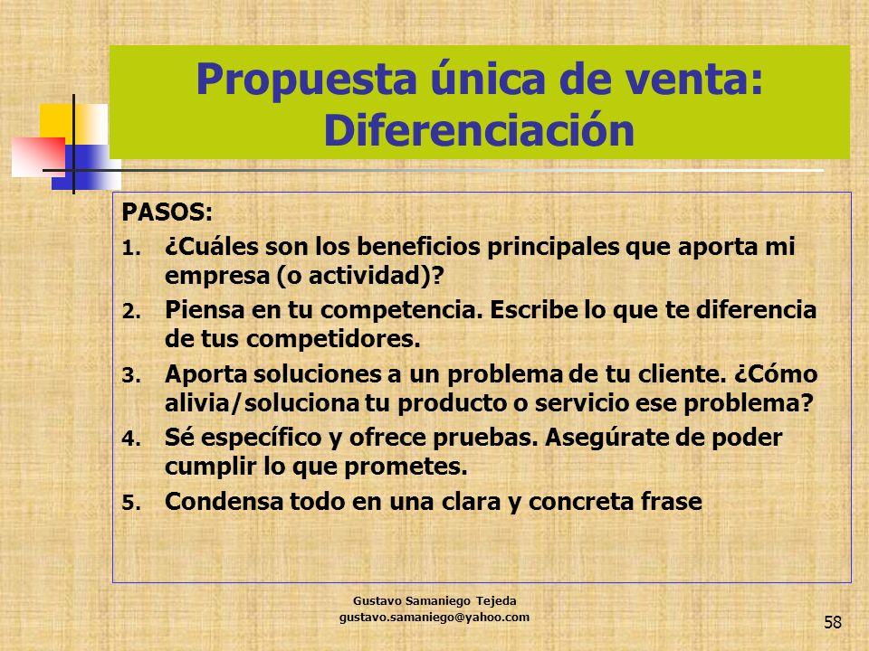 Propuesta única de venta: Diferenciación PASOS: 1. ¿Cuáles son los beneficios principales que aporta mi empresa (o actividad)? 2. Piensa en tu compete