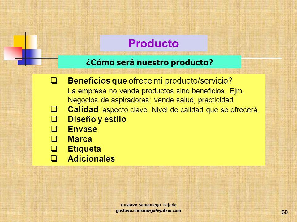 60 Beneficios que ofrece mi producto/servicio? La empresa no vende productos sino beneficios. Ejm. Negocios de aspiradoras: vende salud, practicidad C