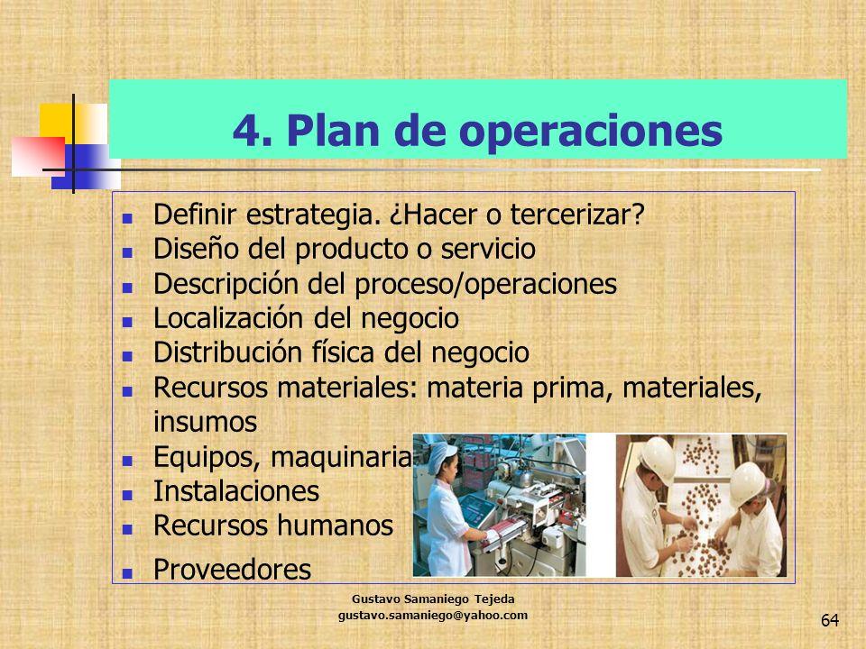 4. Plan de operaciones Definir estrategia. ¿Hacer o tercerizar? Diseño del producto o servicio Descripción del proceso/operaciones Localización del ne