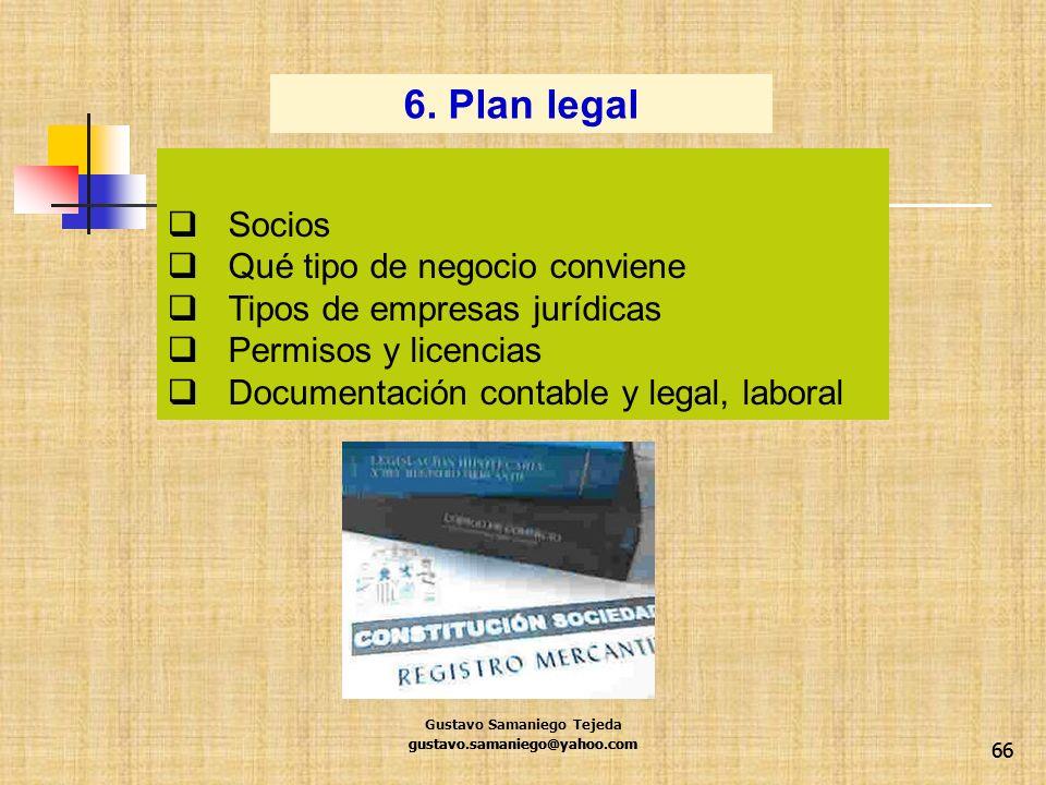 66 Socios Qué tipo de negocio conviene Tipos de empresas jurídicas Permisos y licencias Documentación contable y legal, laboral 6. Plan legal gustavo.