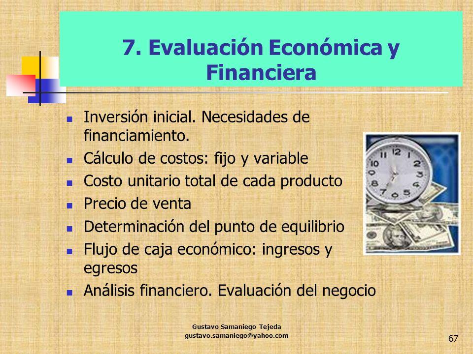 7. Evaluación Económica y Financiera Inversión inicial. Necesidades de financiamiento. Cálculo de costos: fijo y variable Costo unitario total de cada