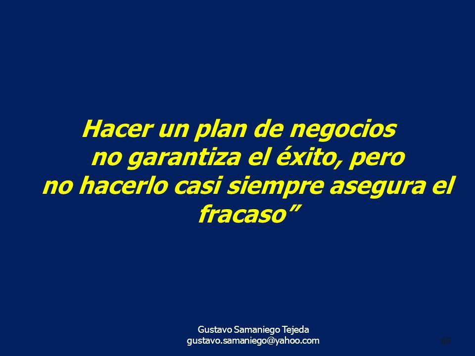 gustavo.samaniego@yahoo.com 69 Hacer un plan de negocios no garantiza el éxito, pero no hacerlo casi siempre asegura el fracaso Gustavo Samaniego Teje