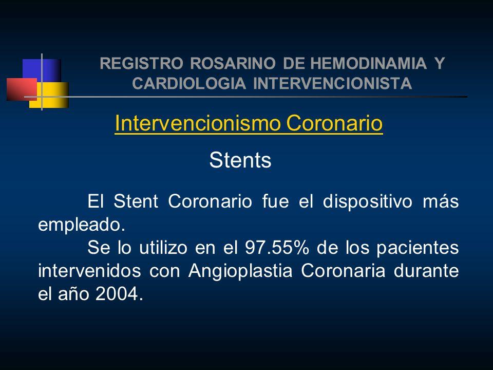REGISTRO ROSARINO DE HEMODINAMIA Y CARDIOLOGIA INTERVENCIONISTA Intervencionismo Coronario Stents El Stent Coronario fue el dispositivo más empleado.