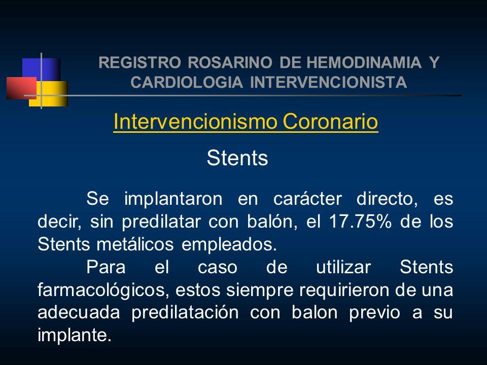 REGISTRO ROSARINO DE HEMODINAMIA Y CARDIOLOGIA INTERVENCIONISTA Intervencionismo Coronario Stents Se implantaron en carácter directo, es decir, sin predilatar con balón, el 17.75% de los Stents metálicos empleados.