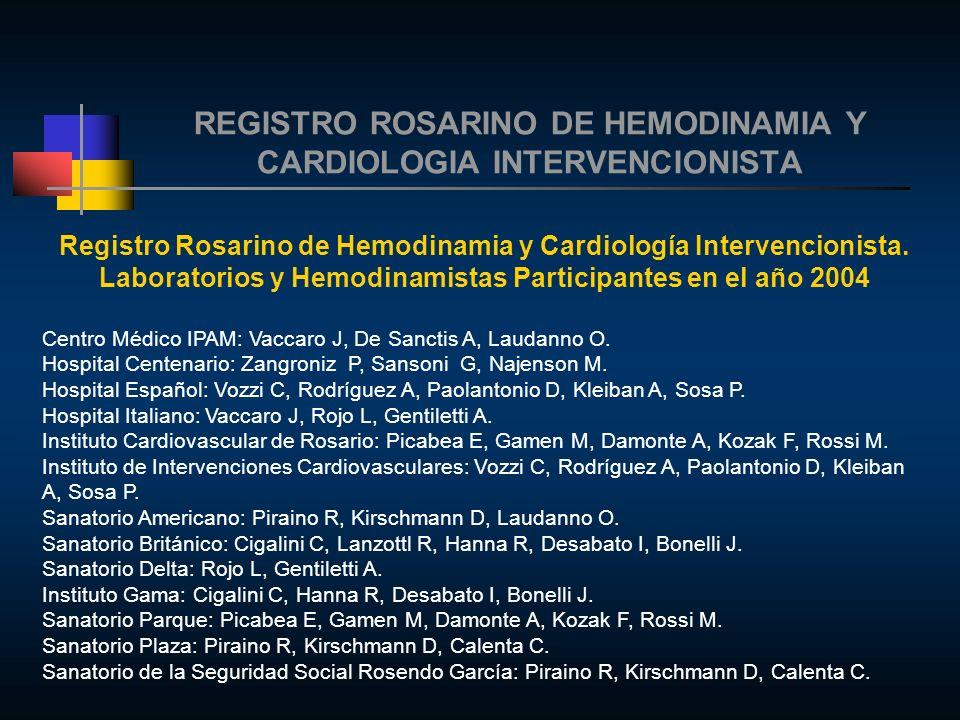 REGISTRO ROSARINO DE HEMODINAMIA Y CARDIOLOGIA INTERVENCIONISTA Registro Rosarino de Hemodinamia y Cardiología Intervencionista.