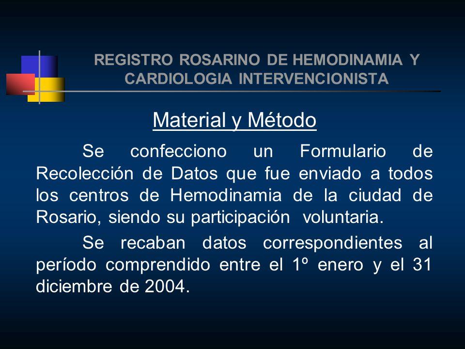 REGISTRO ROSARINO DE HEMODINAMIA Y CARDIOLOGIA INTERVENCIONISTA Material y Método Se confecciono un Formulario de Recolección de Datos que fue enviado a todos los centros de Hemodinamia de la ciudad de Rosario, siendo su participación voluntaria.